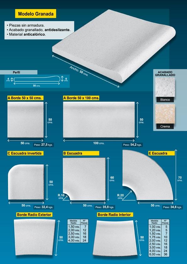 Piedra borde de piscina 100x50 cm crema tienda online for Bordillo piscina