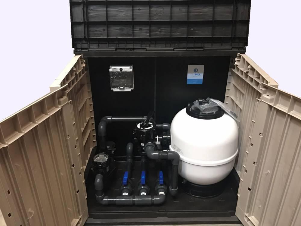 Depuradora piscina con caseta elevada 600 1 cv tienda for Tapa depuradora piscina