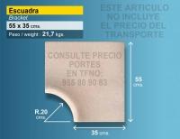Piedra de piscina esquina 54x35 cm crema