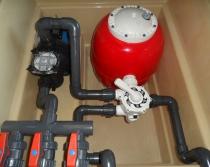 Depuradora piscina con caseta 500   1 cv   Transformador