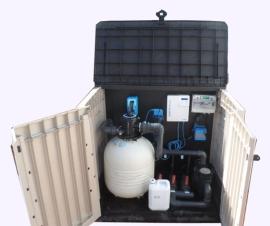 Caseta elevada piscina filtro 600 clorador salino 20 grs